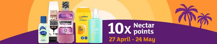 10 x Nectar points on health and beauty at Sainsbury's Sainsbury's has launched a month long offer which will give you 10 times the standard number of Nectar points on all of your health and beauty purchas...