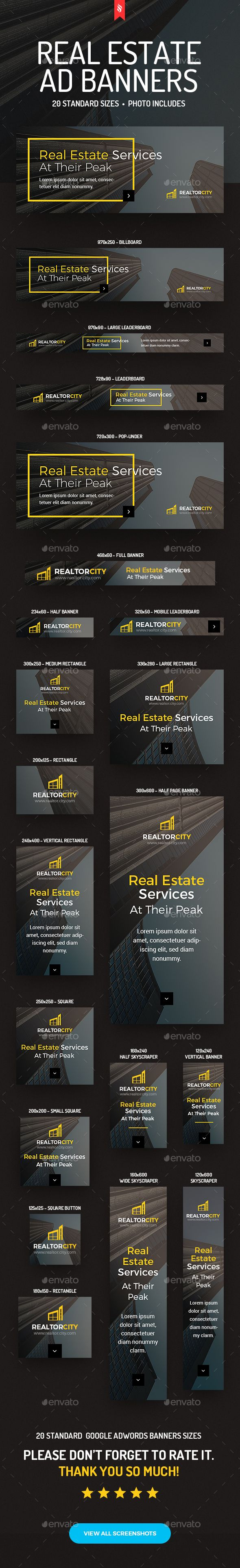 RealtorCity  Real Estate Ad Banners — Photoshop PSD #city #web ad banners • Available here → https://graphicriver.net/item/realtorcity-real-estate-ad-banners/14440055?ref=pxcr