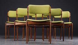 Lauritz.com - Moderna bord och stolar - Erik Buck. Seks stole, teak (6) - DK, Roskilde, Store Hedevej