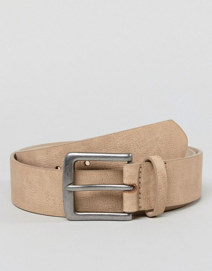ASOS Wide Belt In Stone Faux Leather With Vintage Silver Buckle - Tan