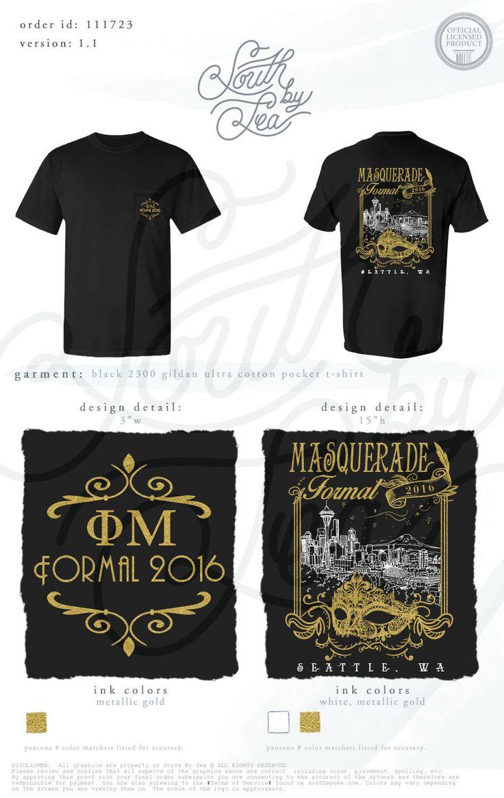 Phi mu masquerade theme formal vintage t shirt design for Frat pocket t shirts
