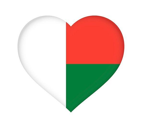 Flag of Madagascar shaped like a heart.#Madagascar#flag#love#heart