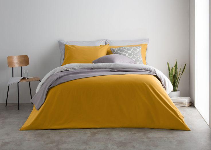 Solar 180tc 100% Cotton Reversible Bed Set, Mustard/Mist Grey