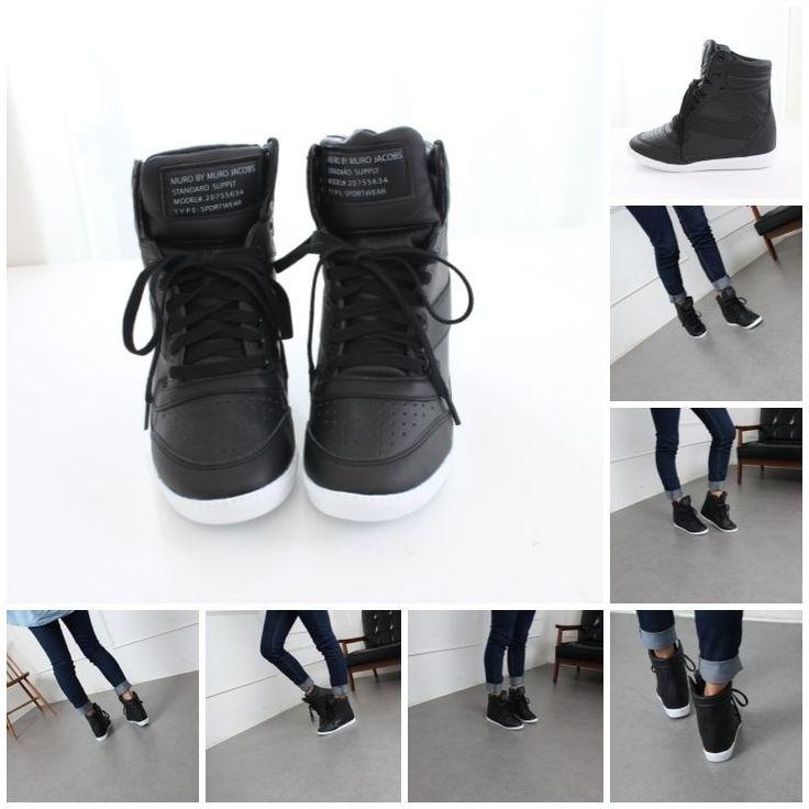 Womens Korean High Top Wedge Flatform Lace Up Hidden Heel Fashion Sneakers Black