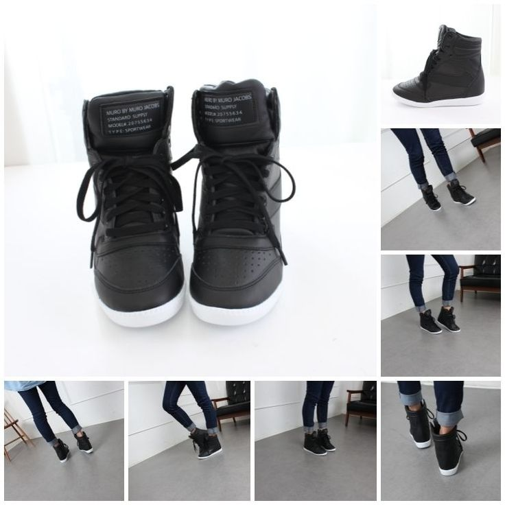 Women's Black High Top Fashion Sneakers Womens Korean High Top Wedge