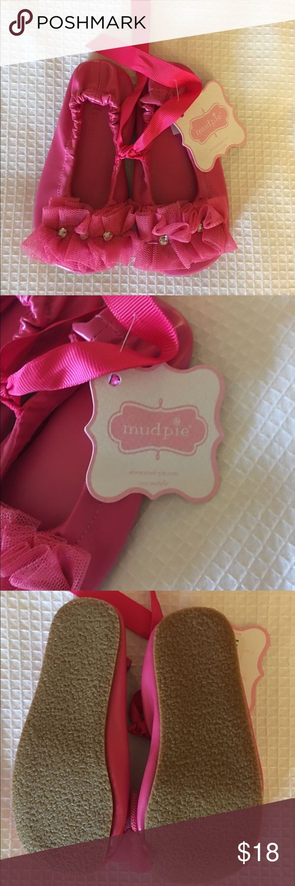 NWT Mudpie pink ballet flats. Mud Pie. Hot pink. So adorable! New with tags ballet flats! Have beautiful chiffon and rhinestone accent on the toe. Mud Pie Shoes