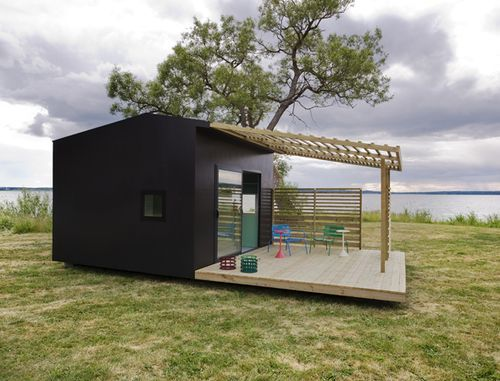 Friggebods are small swedish cottages; they don't need building permits for less than 150 square feet. This design by Jonas Wagell is available for purchase for 12,200 euros plus freight, with a solar power module for only 1,400 euros. A bath and kitchen module is also available.