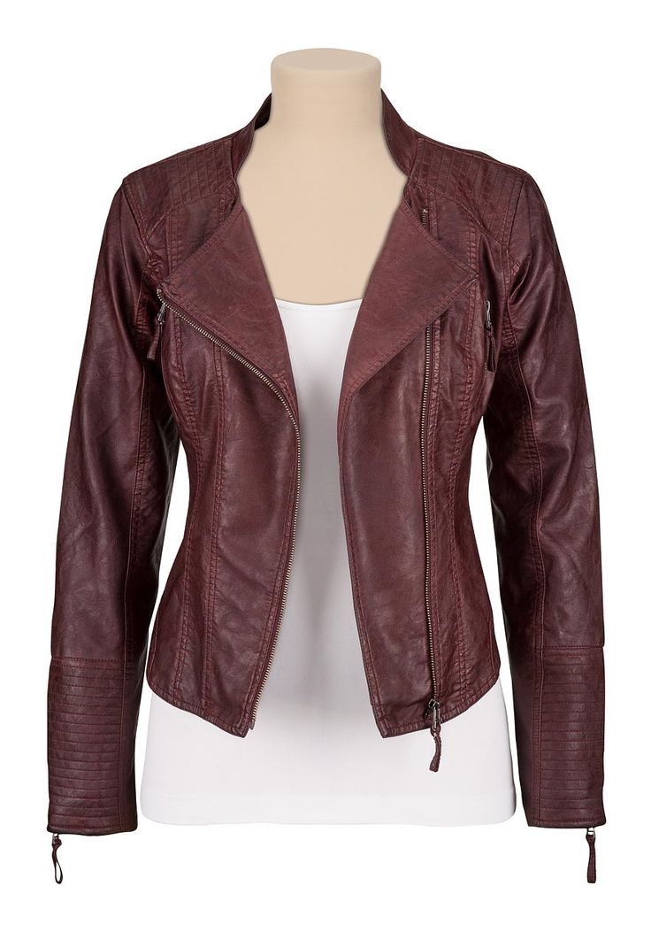 Asymmetrical Zip Faux Leather Jacket With Zippers | My Style | Pinterest | Faux Leather Jackets ...