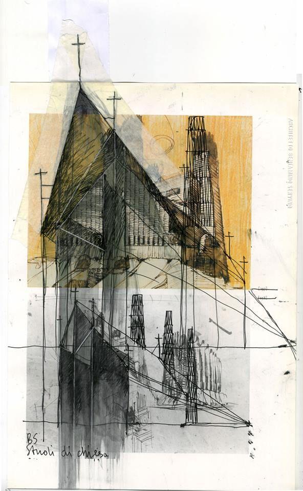 Beniamino Servino. Cover Architectures. [Studies for a church]. ... [Cm 21 x cm 35. Penne al gel di inchiostro, nastro adesivo di carta su pagina di un libro].