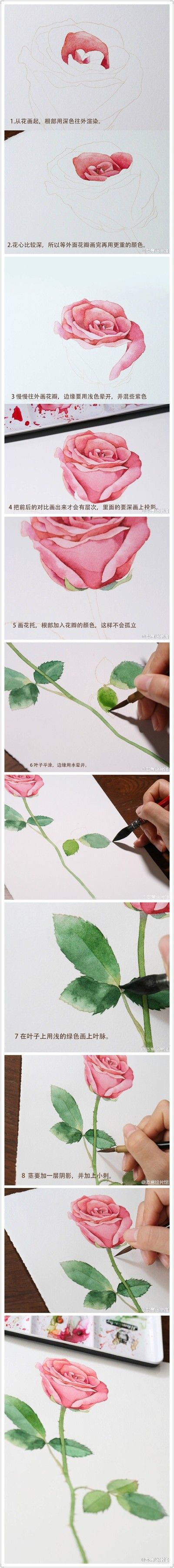 Rose painting lesson