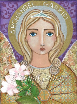 Folk Art  Painting Saint Archangel Gabriel Print  by Evonagallery