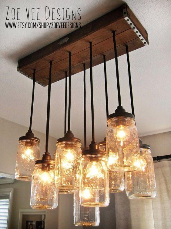 handgefertigte mason jar anh nger kronleuchter w rustikale vintage stil holz altholz. Black Bedroom Furniture Sets. Home Design Ideas