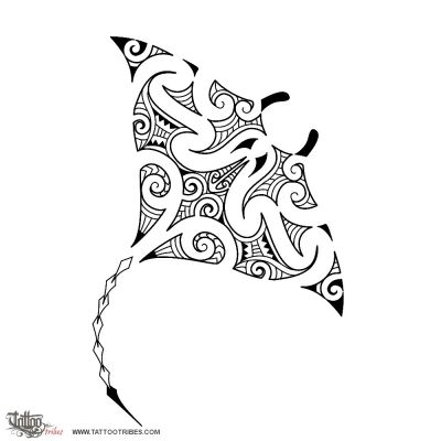 Tatouage: Tatouage raie manta tribal_5