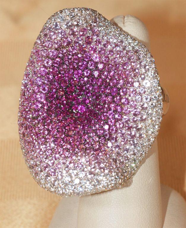CARLO PALMIERO White  Gold,  Diamond & Colored Sapphire Ring
