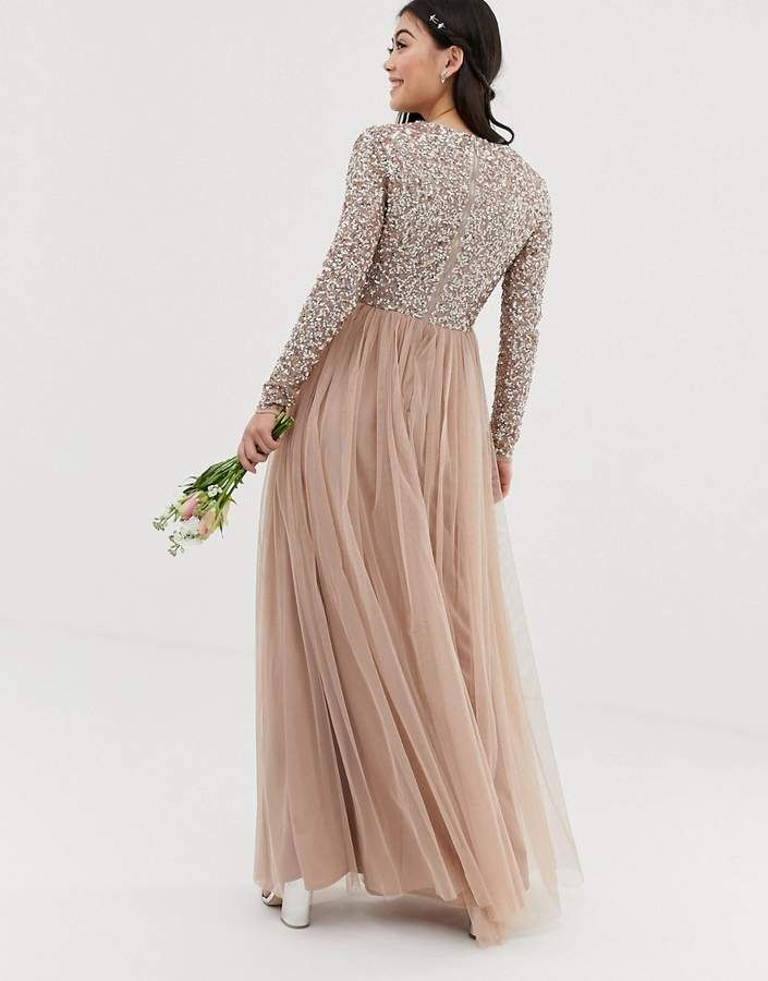 be8181d7 Maya Petite Bridesmaid long sleeve maxi tulle dress with tonal delicate  sequins in taupe blush #long#sleeve#maxi