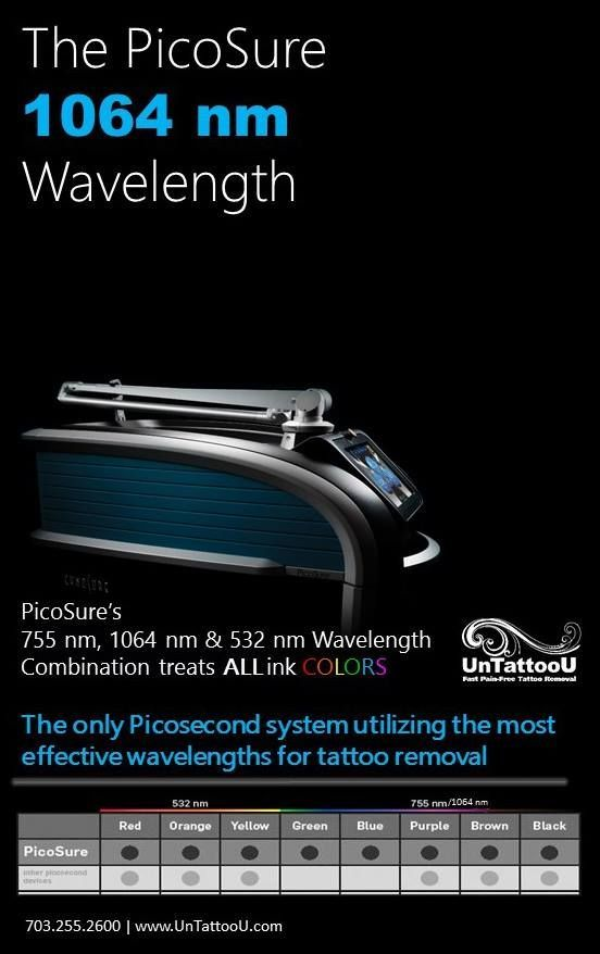 UnTattooU is to proud to be the first to announce the arrival of our new PicoSure 1064 wavelength, the only Picosecond system utilizing the three most effective wavelengths for removal of ALL ink colors! We strive to be the leader in tattoo removal not only in service but our equipment as well. Call today to schedule! 703.255.2600  #PicoSure #lasertattooremoval #tattooremoval #tattoos #technology #tattooregret #untattoou #tattooremovalpicosure