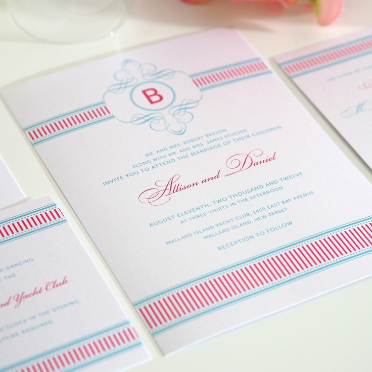 wedding invitation wording with no reception%0A Preppy Wedding Invitation  Vintage French      s      s  Pink and Blue Wedding  Invitations