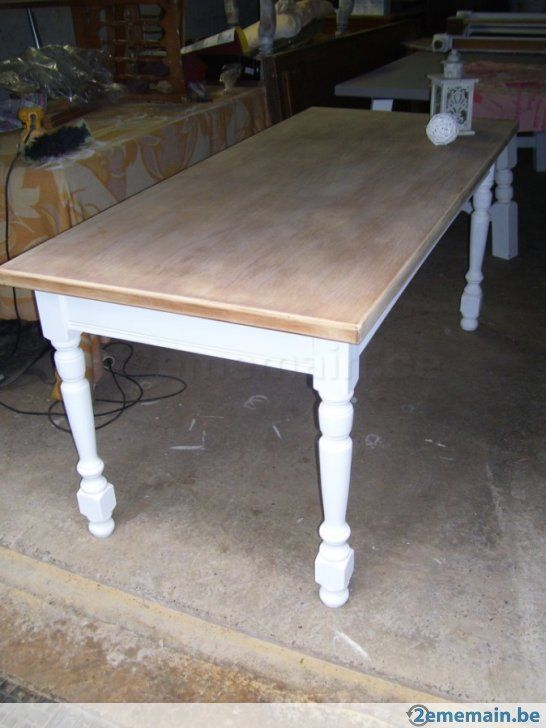 Table de ferme patine blanche et bois brut d co cosy for Table blanche et bois