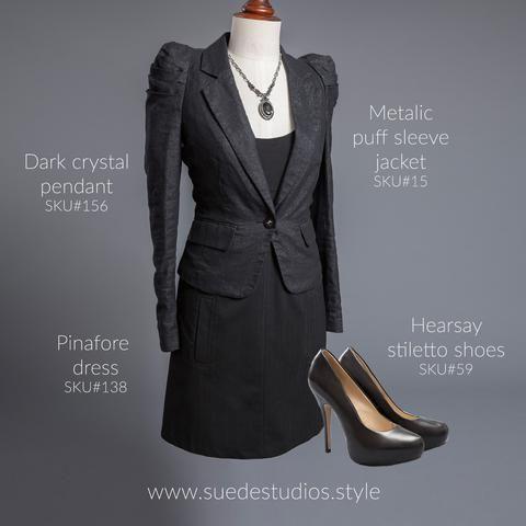 Suede Studios Style: metallic puff sleeve jacket, Pinafore dress, dark crystal pendant & Hearsay stiletto shoes.