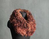 Felted Scarf Raw Wool Felt Scarf Winter Accessory Gift For Her Brown Sheep Locks OOAK Scarf Collar Fashion Neck Warmer