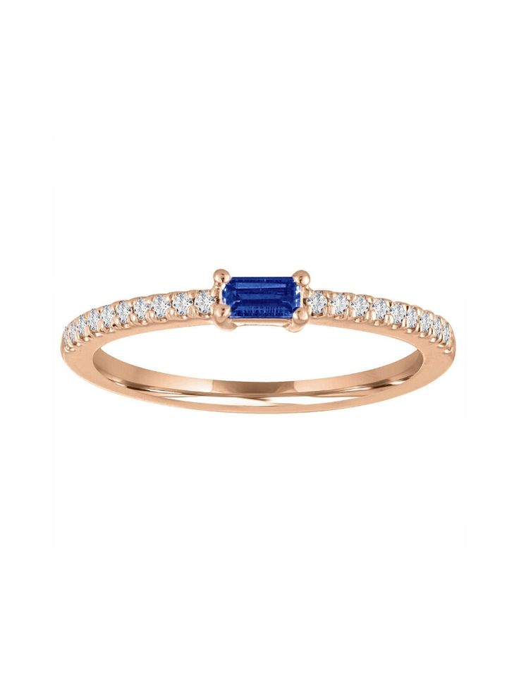 My Story Jewelry - Julia Sapphire Ring - Rose Gold    Handcrafted in 14-karat rose gold.  Detailed in diamonds and sapphire.  Sapphire totals 0.15 carats.  Diamonds total 0.12 carats.