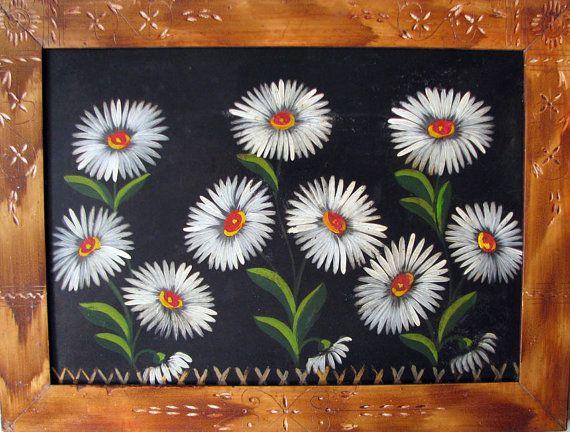 Daisies: Meg Ryan Friendly Flowers! Vintage Eastlake Frame Faux Wood Painting c.1900 Folk Art Original Painting on Tin