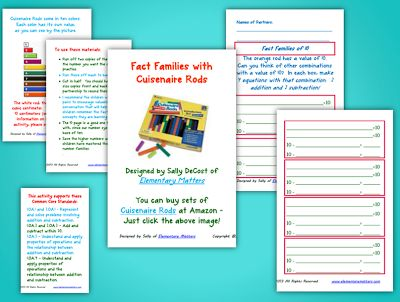 Classroom Freebies: Cuisenaire Rods and Fact Families