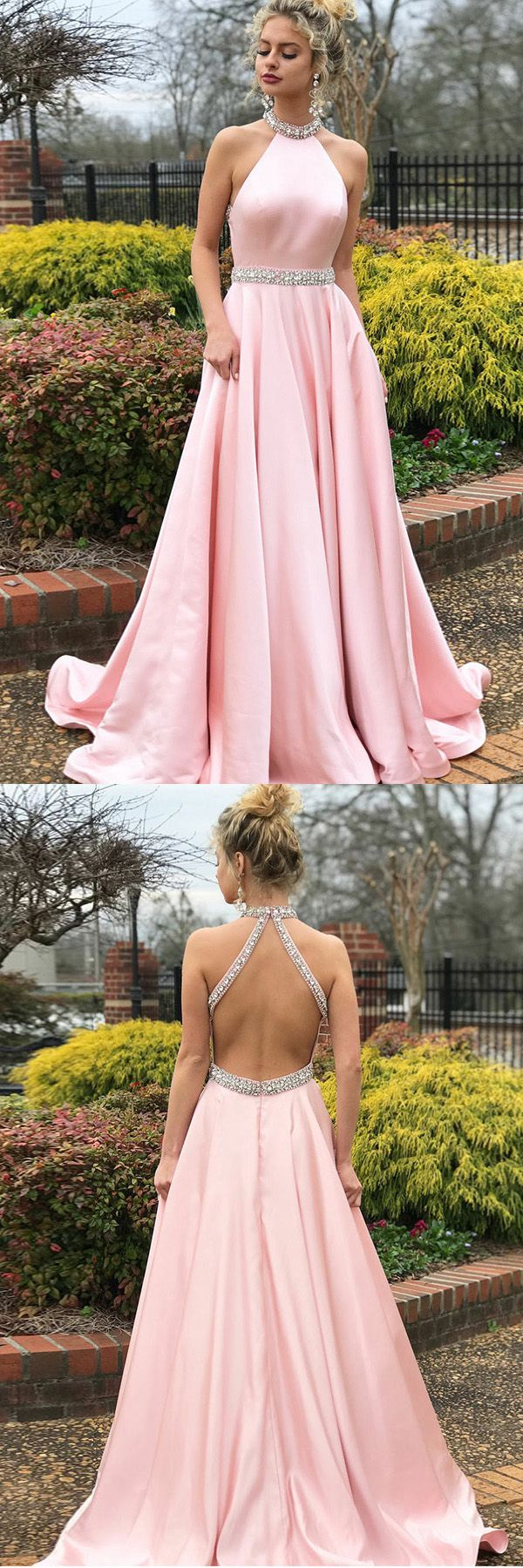 A-Line Pink Satin Open Back Sleeveless Prom Dress with Beading PG602 #prom #promdress #promgown #evening #eveningdress #eveninggown #partydress #satin #pink #aline #fashion #longprom #pgmdress