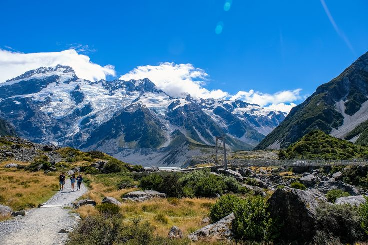 A swing bridge, and Mt Sefton (and the Sefton Glacier) on the Hooker Valley Track in Aoraki/Mt Cook National Park
