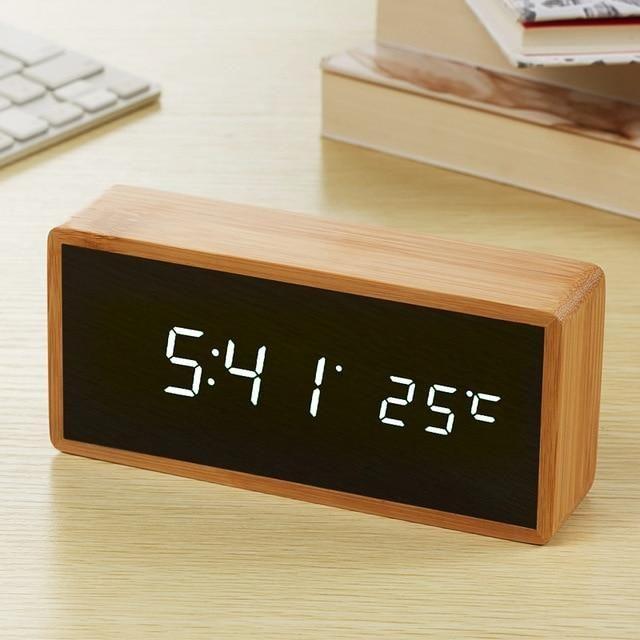 Bamboo Wooden Mirror Alarm Clocks Unique Alarm Clocks Alarm Clock Clock