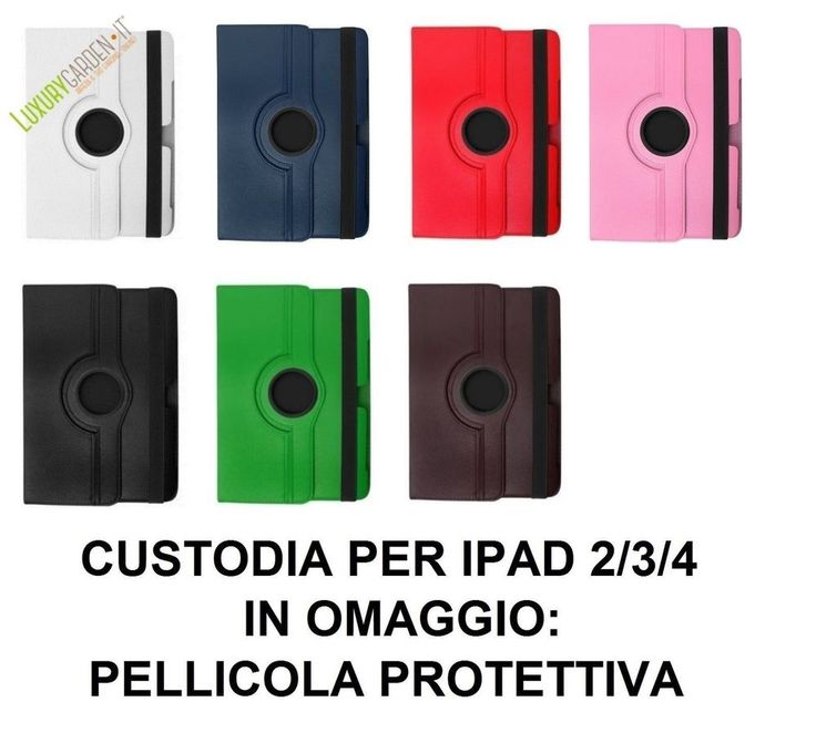 Cover Custodia Per Apple iPad 2 3 4 360° Ecopelle Rotante + Pellicola Protettiva
