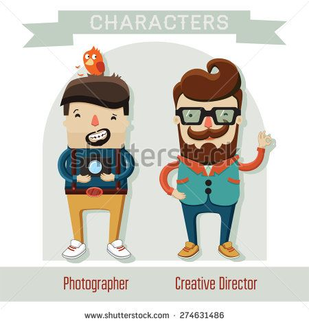 characters of professions, photographer, creative director, creative people - stock vector