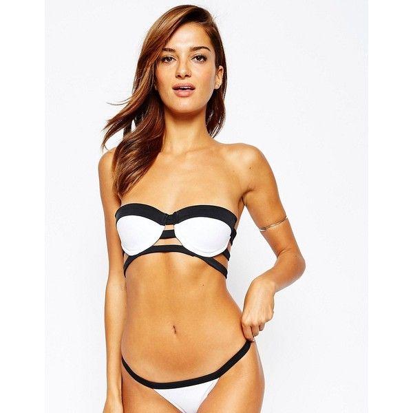 ASOS Mono Contrast Caged Bandeau Bikini Top (€11) ❤ liked on Polyvore featuring swimwear, bikinis, bikini tops, multi, bandeau bikini, swim suit tops, tankini tops, swimming bikini and swim tops