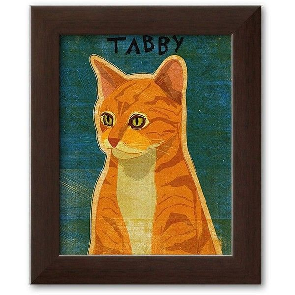 Art.com ''Tabby (orange)'' Framed Art Print by John Golden, Soho... ($60) ❤ liked on Polyvore featuring home, home decor, wall art, soho espresso, vertical wall art, wooden wall art, orange home accessories, framed wall art and cat home decor