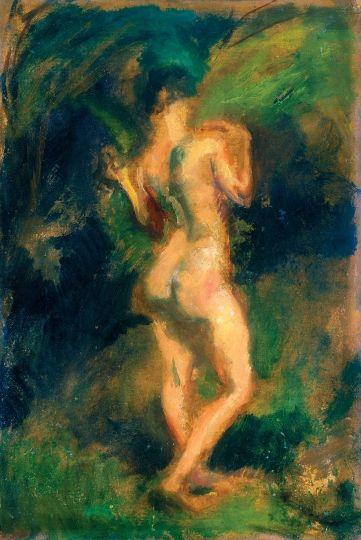 Márffy Ödön (1878-1959)  Álló női akt, 1910 körül  Olaj, karton, 48x32 cm