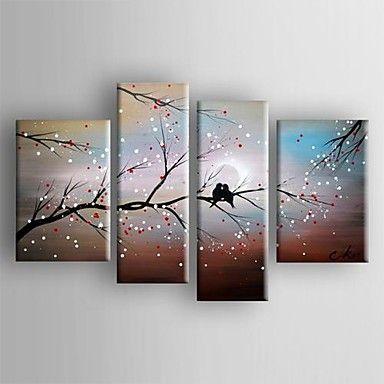 pintura a óleo abstrata paisagem pássaro no conjunto da árvore de 4 telas pintadas a mão esticada com emoldurado de 2644440 2016 por R$670,52
