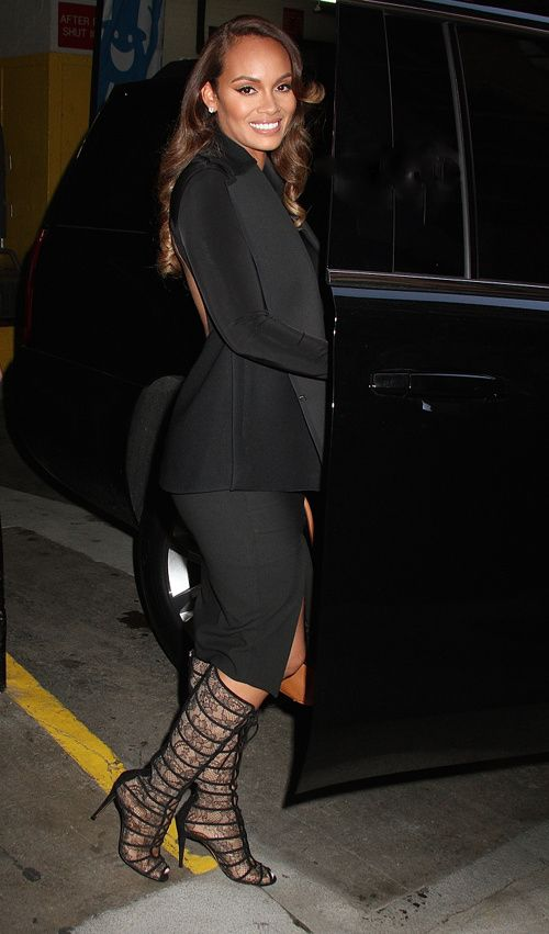 Evelyn Lozada's Livin Lozada Press Stop Gianvito Rossi Chantilly Black Lace and Suede Boots