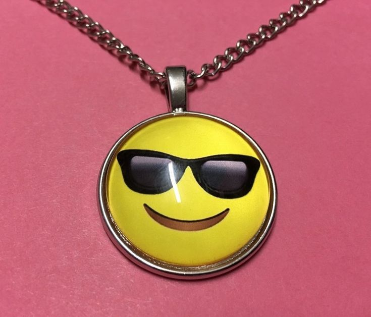 """Emoji Cool necklace smiley face 18"""" chain silver tone fun beach surf gift #13 #Unbranded #Chain"""