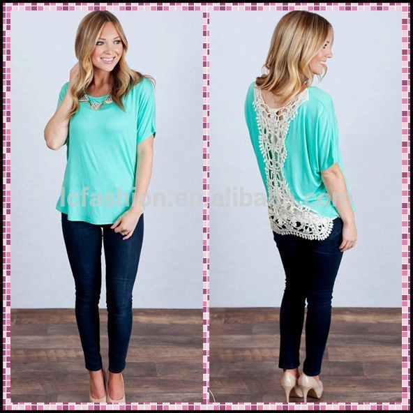 2015 neck design of blouse ladies crochet back short sleeve tunic LC631