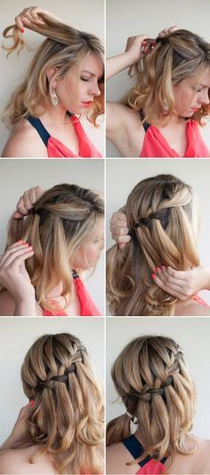 Thhis is called a waterfall hair braid. People say that it is ownly for shoulder length hair but I beg to differ. This can be for anybody so dont let your hair length stop your dream hairstyles. This is so cute for school. And it is so easy. You can curl your hair for this to make it more swifty. But you dont have to.