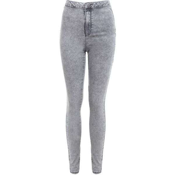Miss Selfridge Grey Acid Super High Waist Jeans (25 CHF) ❤ liked on Polyvore featuring jeans, pants, bottoms, light grey, high-waisted skinny jeans, light grey skinny jeans, light grey jeans, high waisted acid wash jeans and acid washed jeans