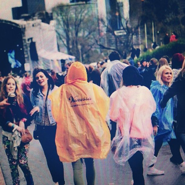 Someone saved an old Vanessa poncho for rainy Parklife!