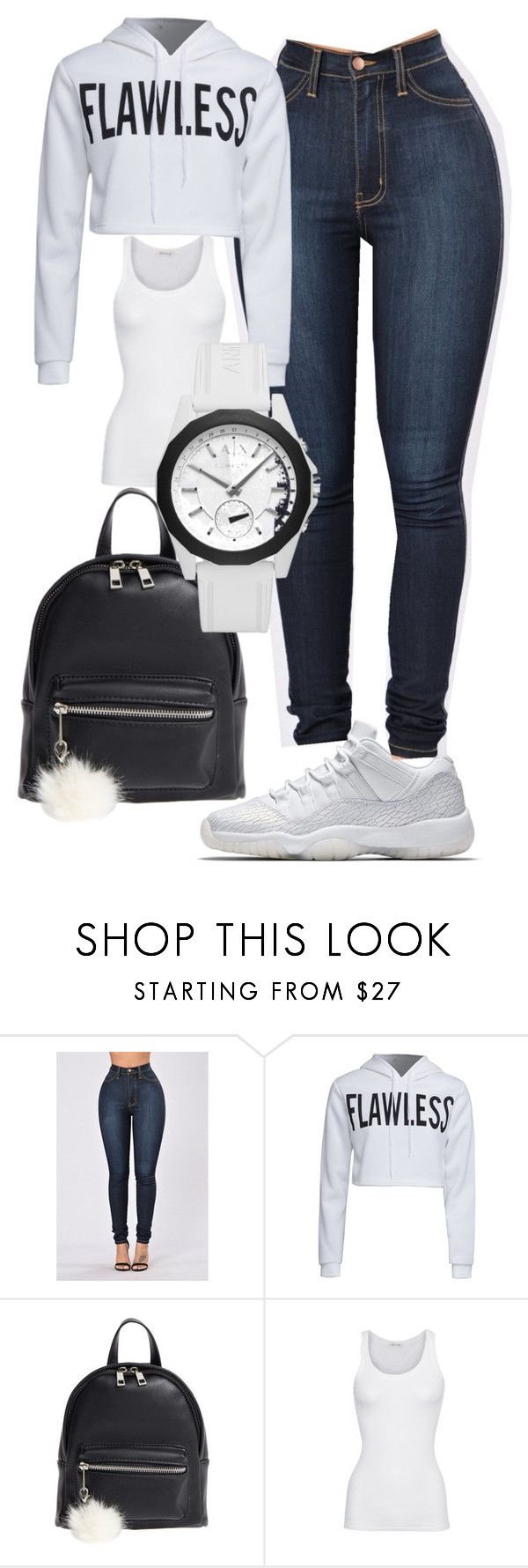 """Jordan Outfit"" by benginafantaisie on Polyvore featuring WithChic, BP., American Vintage, Armani Exchange, white, Air, jordan, fashionova and Jordanoutfit"