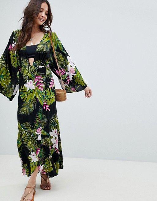 55d04e98d08ea DESIGN Dark Tropical Print Long Sleeve Plunge Beach Maxi Dress   hot  weather.   Dresses, Fashion, Long sleeve