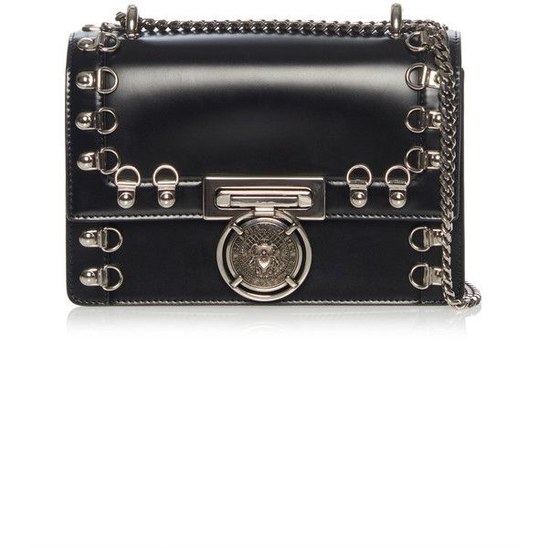 Balmain Leather Box Flap Bag with Hardware (13.885 HRK) ❤ liked on Polyvore featuring bags, handbags, shoulder bags, black, chain shoulder bag, metallic handbags, leather shoulder bag, genuine leather purse and metallic purse