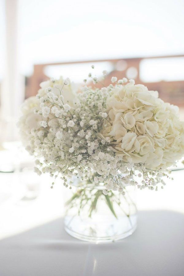 hydrangeas and baby's breath, centerpieces? Maybe for food table or mixture for pitchers on cake table