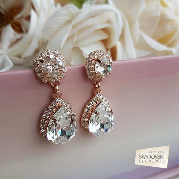 Rose Gold Drop Earrings, Rose Gold Dangle Earrings, Rose Gold earrings, bridal drop earrings, drop pear earrings, crystal drop earring, crystal earrings