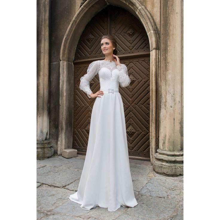 Luxusné dlhé svadobné šaty s rukávmi a jednoruchou sukňou predelené opaskom