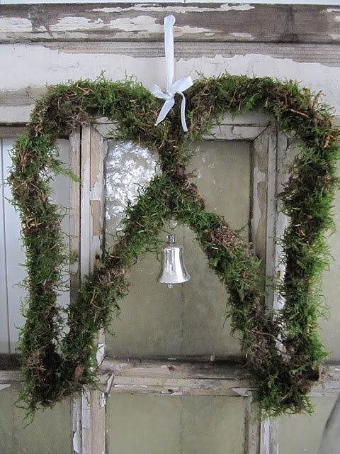 Old Windows... Green Angel-Like Wing Wreath... Make this with solar lights wrapped around for Christmas!! Sensational!!