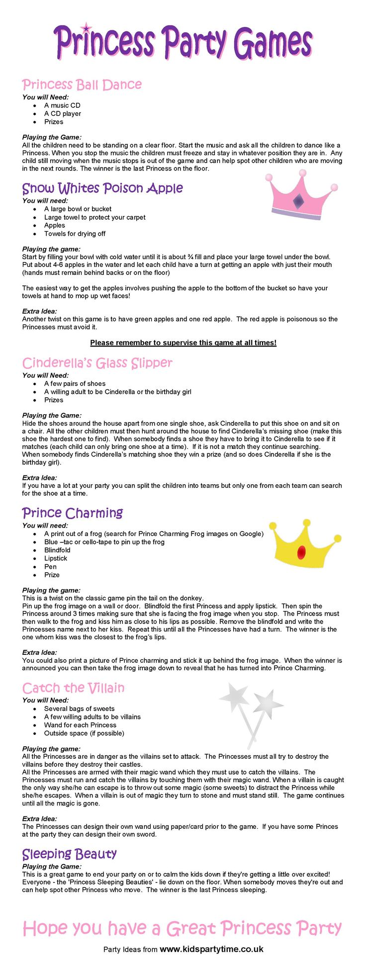 925 silver a gram Princess Party Game Ideas